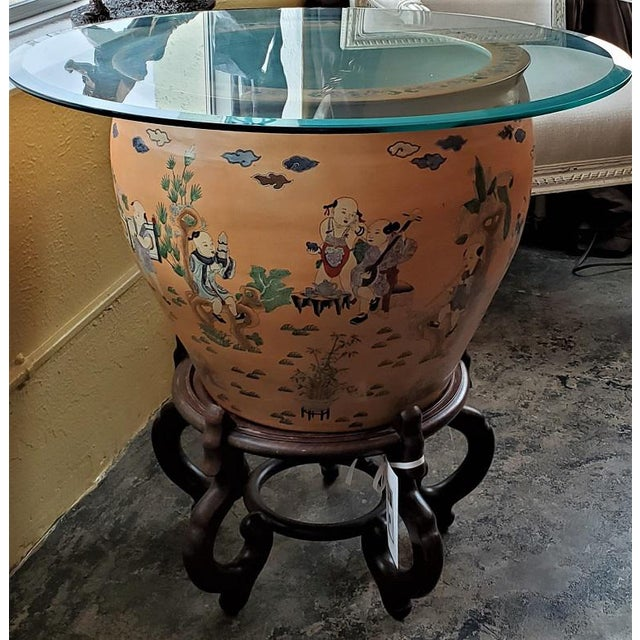 Large Chinese Fish Bowl Side Table With Stand For Sale - Image 13 of 13