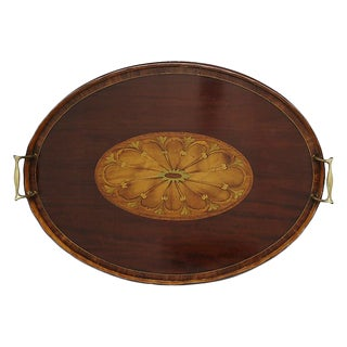 1920s English Inlaid Wood Tray For Sale
