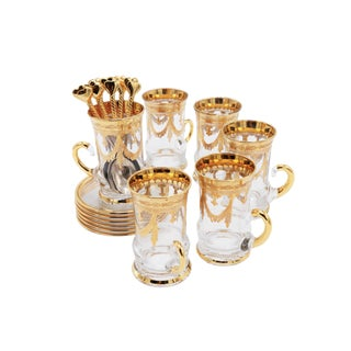 Italian Gilt Glass Coffee Cup Set For Sale