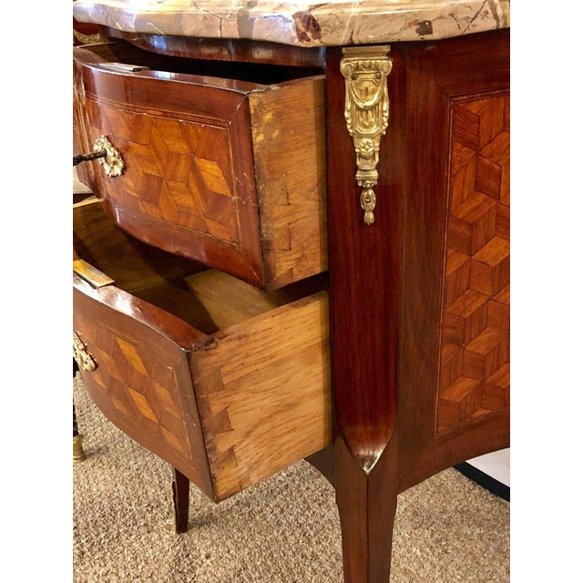 Brown French Marble Top Two Drawers Bronze-Mounted Tables or Nightstands - a Pair For Sale - Image 8 of 10