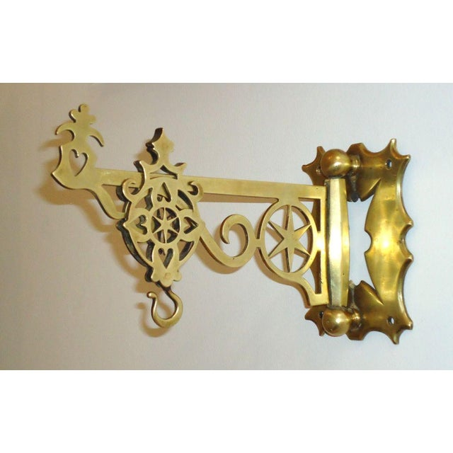 Primitive 19th Century Rare New England Brass Wall Bracket with Hearts & Stars For Sale - Image 3 of 9