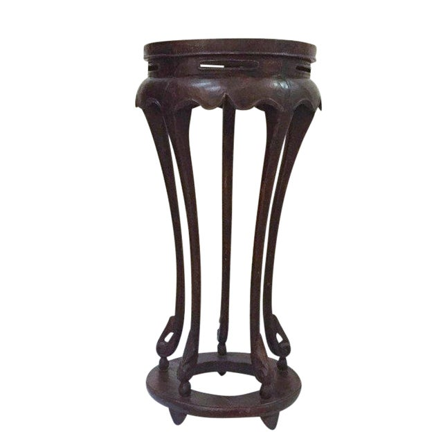 "Vintage Chinese Pedestal Stand Carved Wood Chinoiserie Display Stand Plant Stand 36"" For Sale"
