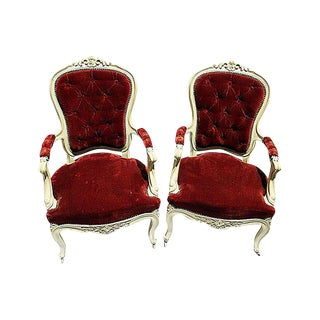 19th C. Louis XV Style Arm Chairs - A Pair For Sale