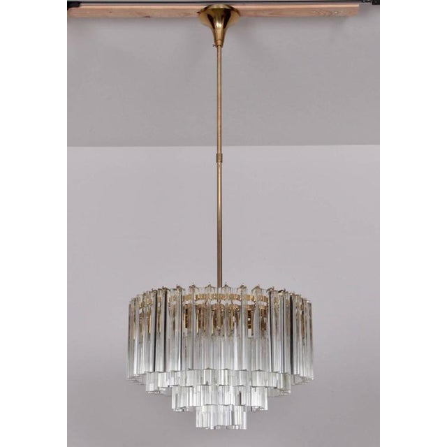 Brass Huge Murano Triedri Glass and Brass Chandelier by Venini For Sale - Image 7 of 7