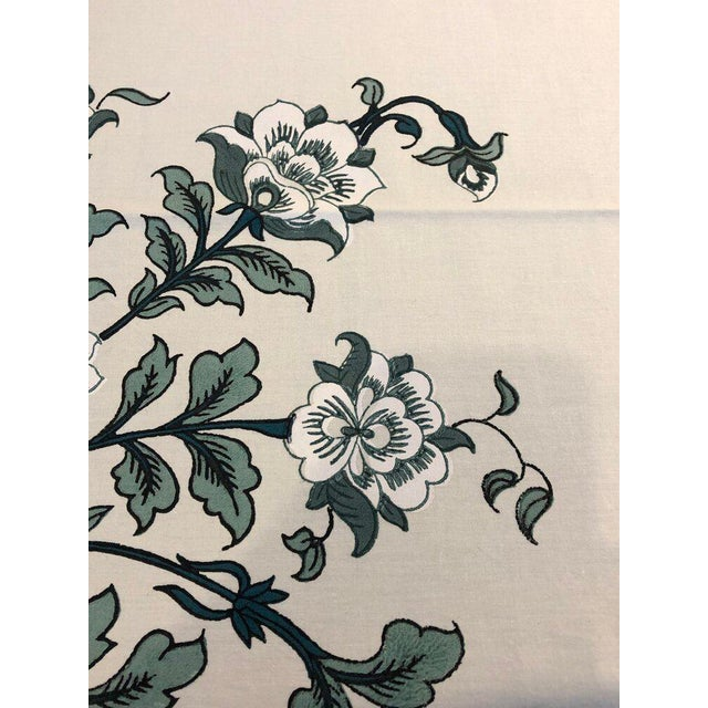 "Contemporary Brigitte Singh ""Gustav Peony"" Hand Block Printed Tablecloth and Napkins - Set of 9 For Sale - Image 3 of 5"