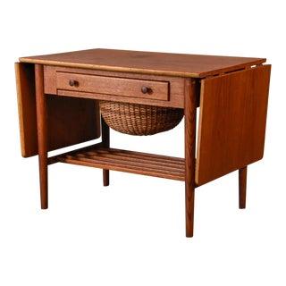 Hans Wegner Style Teak Sewing Table For Sale