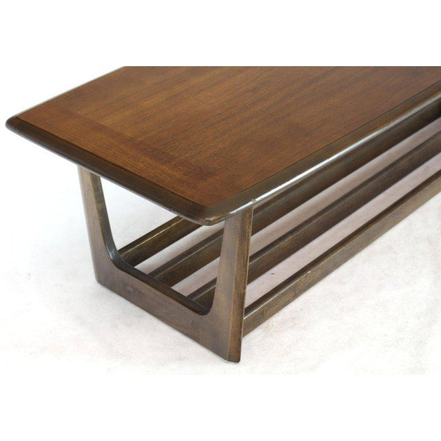 Lane Rounded Rectangle Shape Two-Tier Walnut Coffee Table For Sale - Image 9 of 11