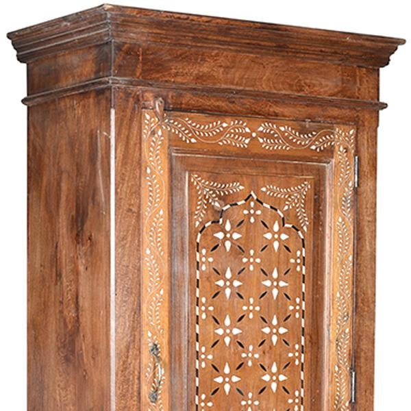 Old teak wood cabinet with interior shelves and beautiful hand-cut bone inlay design on the door. This unique cabinet has...