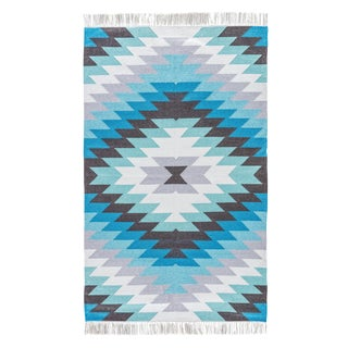 Jaipur Living Mojave Indoor/ Outdoor Geometric Aqua/ Gray Area Rug - 3′6″ × 5′6″ For Sale