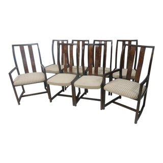 Mid-Century Burl Dining Chairs - Set of 8 For Sale