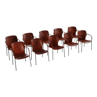 Gianfranco Frattini Model Lalanda in Dark Cognac Leather Armchairs - Set of 10 For Sale