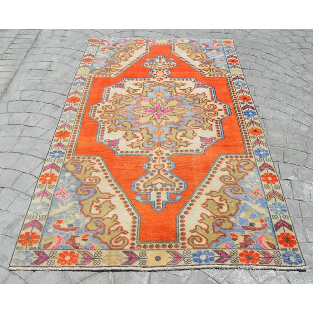 Distressed Area Rug Hand Knotted Colorful Oushak Medallion Rug - 4'4'' X 7'3'' For Sale - Image 12 of 12