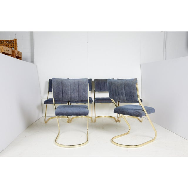 1970s Set of Six Vintage Brass Cantilever Dining Chairs by Douglas Furniture For Sale - Image 5 of 12