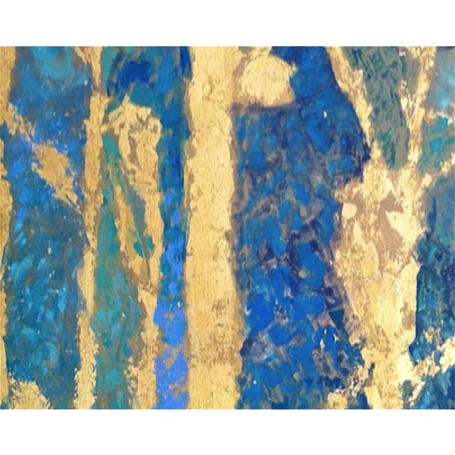 Bryan Boomershine Aqua Gold Abstract Painting - Image 4 of 4