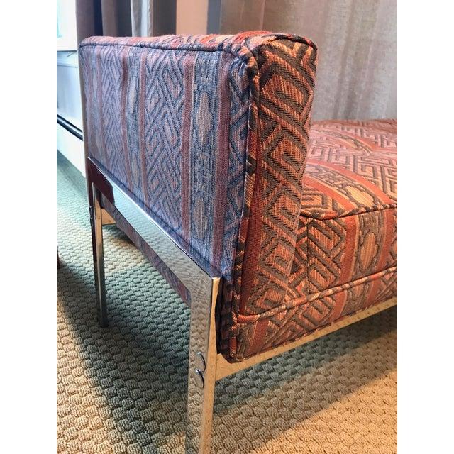 Vintage Chrome Upholstered Bench - Image 3 of 9