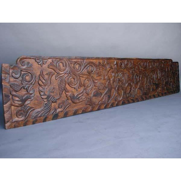 Rustic 19th Century Antique Primitive, Carved Rustic Wooden Panel or Headboard For Sale - Image 3 of 3
