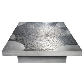 Signed Stainless Steel Coffee Table by Jean Claude Dresse For Sale