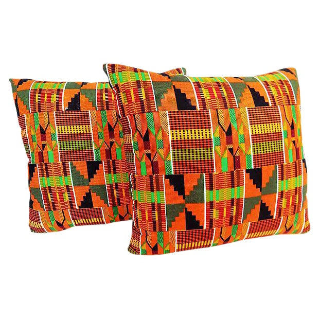 Kente Cloth Pillows, Pair - Image 1 of 5