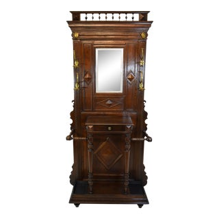 19th-Century French Oak Hall Tree For Sale