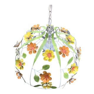 1970s Vintage Boho Chic Metal Flower Hanging Light Fixture For Sale