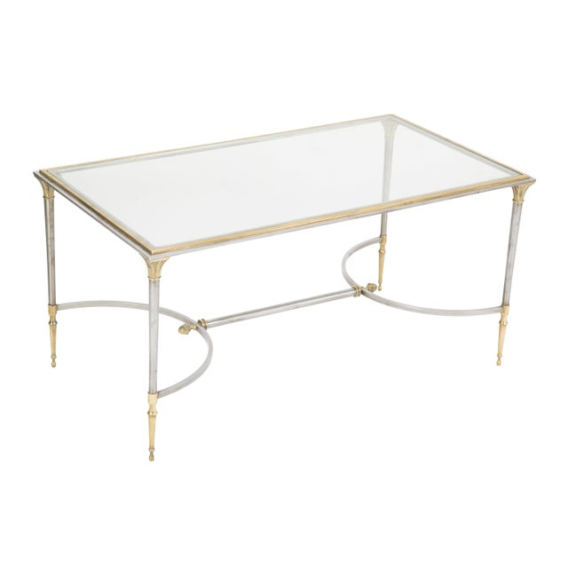 Mid 20th Century Maison Charles Steel & Bronze Glass Top Coffee Table For Sale - Image 5 of 13