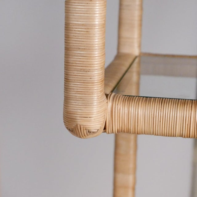 Tan Midcentury Regency Rattan Cane and Glass Shelving Units - a Pair For Sale - Image 8 of 11