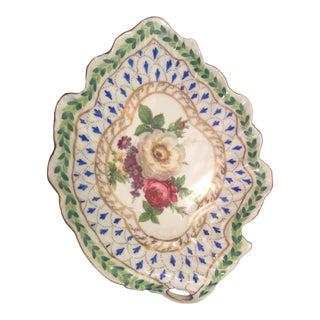 French Style Royal Leaf-Shaped Porcelain Trinket For Sale