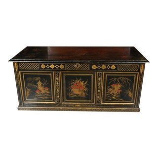 English Chinoiserie Painted Pine Chest For Sale