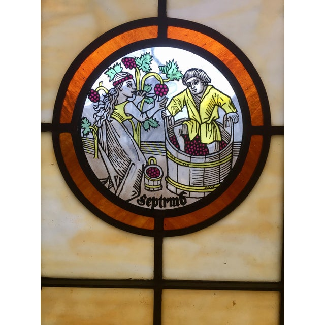 Vintage Stained Glass Harvest Panel - September - Image 3 of 7