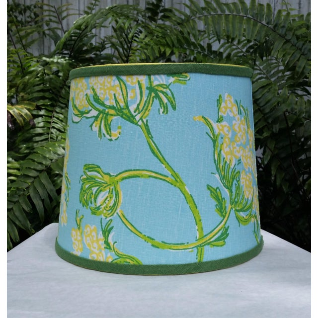 Lilly Pulitzer Fabric Blue Floral Blue Green Yellow Tropical Lampshade For Sale In West Palm - Image 6 of 12