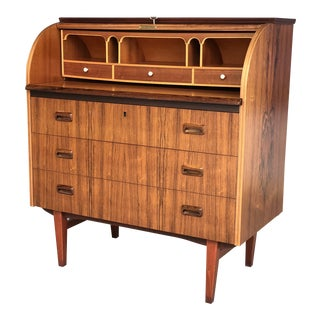 1960s Danish Modern Egon Ostergaard Rosewood Roll Top Cylinder Desk For Sale
