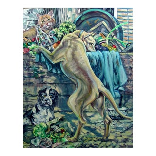 Dogs & Cat by Simon Michael Painting For Sale