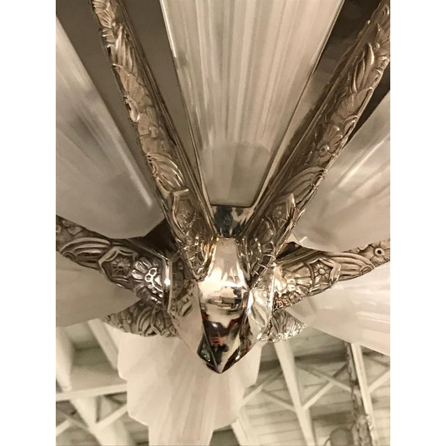 Art Deco Grand French Art Deco Six-Panel Starburst Chandelier by Sabino For Sale - Image 3 of 11