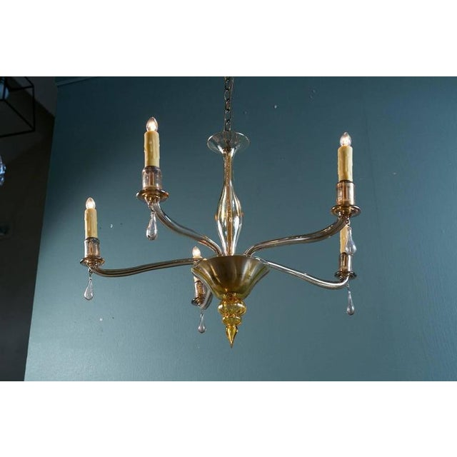 Mid-Century Modern Amber Colored Murano Glass Chandelier in the Style of Venini - Image 5 of 8