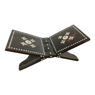 Handmade Wood Folding Bookstand With Mother-Of-Pearl Inlay For Sale