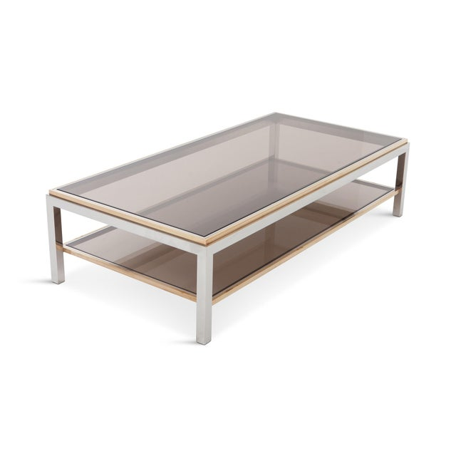 Gold Willy Rizzo Rectangular Coffee Table in Brass, Chrome and Glass For Sale - Image 8 of 8