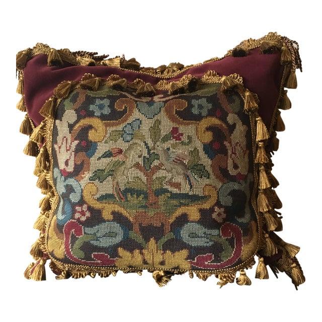 Antique Velvet Burgundy & Gold Needlepoint Pillow For Sale