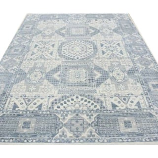 Mamluk Style Hand-Knotted Transitional Geometric Ivory and Blue Grey Eclectic Rug - 9'1 X 12'6 For Sale
