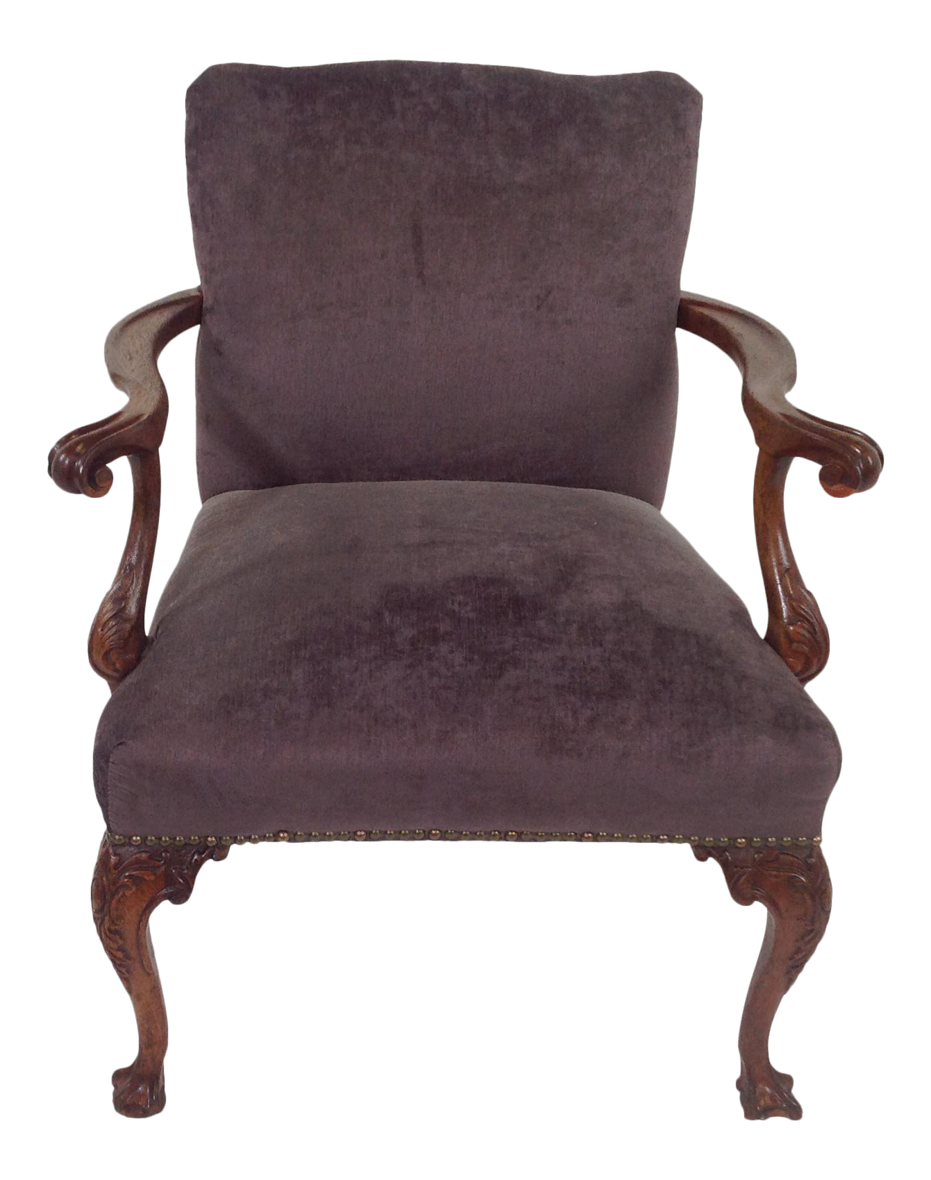 Antique purple velvet claw foot chair chairish