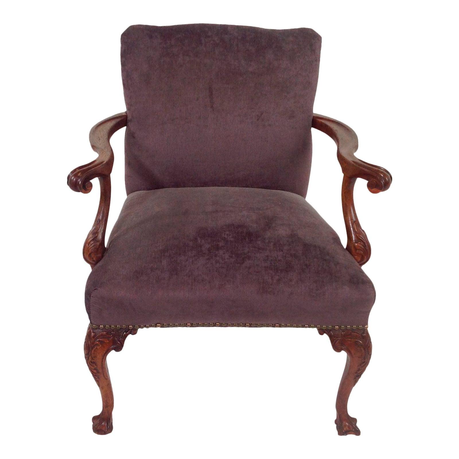 Antique purple velvet claw foot chair chairish