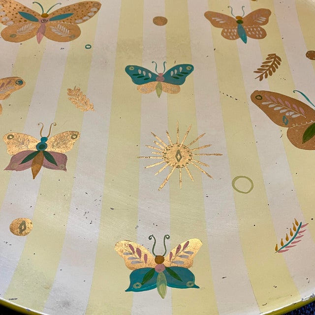 1950s Georges Briard Tole Butterflies + Flora Tray, Signed For Sale - Image 10 of 13