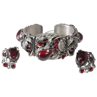1950s Set Hinged Cuff Bracelet & Earrings Red Rhinestones Silver Plated Vintage For Sale
