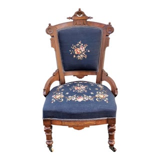 Late 19th Century Victorian Eastlake Needlepoint Side Chair For Sale