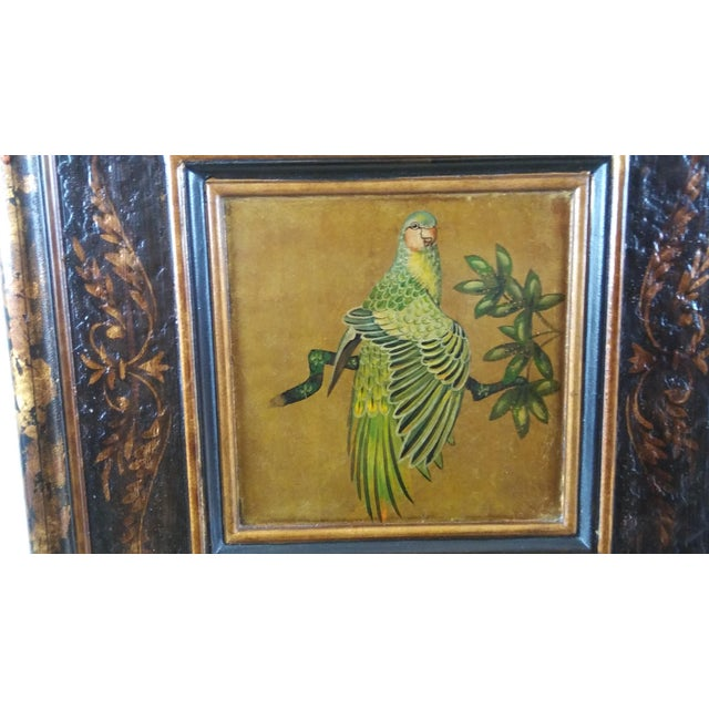Castilian Imports Tropical Birds Wood Wall Plaque Panels - A Pair For Sale - Image 5 of 10