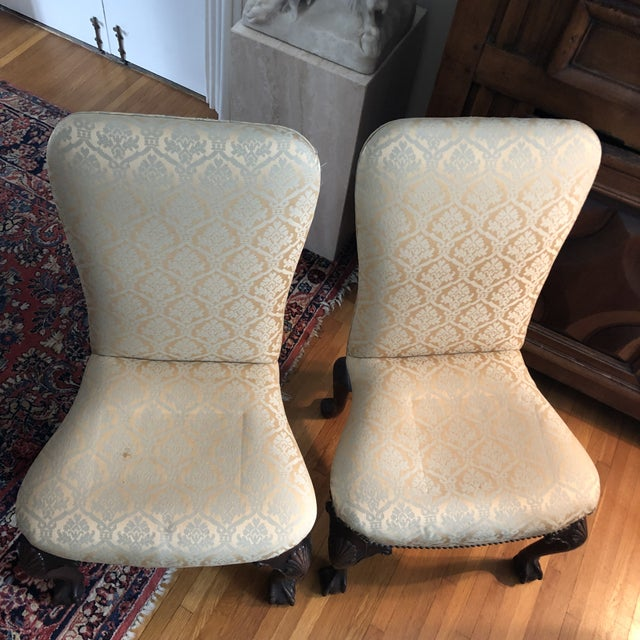 18th Century 18th Century English Walnut or Mahogany George II Ball & Claw Side Chairs- A Pair For Sale - Image 5 of 13