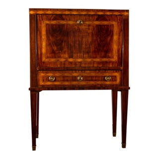 Gustavian Neoclassical Mahogany Writing Chest on High Stand For Sale