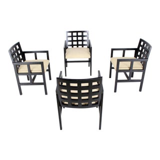 Set of Four Black Side Dining Chairs by Ward Bennet for Brickel Associates For Sale