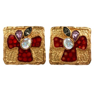 Christian LaCroix Enamel and Stone Earclips For Sale