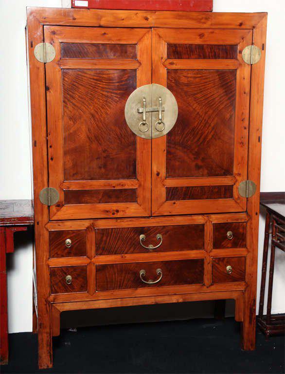 Large Hebei Burl Wood Paneled Cabinet With Brass Hardware Circa 1900    Image 2 Of 11