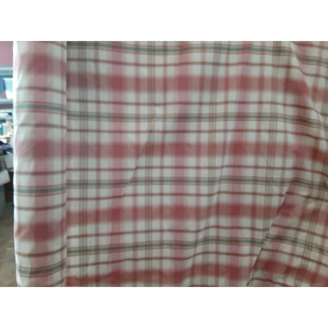 Contemporary Pindler and Pindler Designer Silk Infused Woven Raspberry Pink and Light Green on Cream Woven Plaid - 10 Yards For Sale - Image 3 of 11